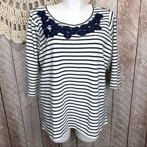 Lands End Striped Embroidered 2x Top